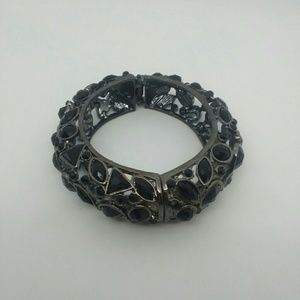 Black Gemstone Hinged Bangle Bracelet